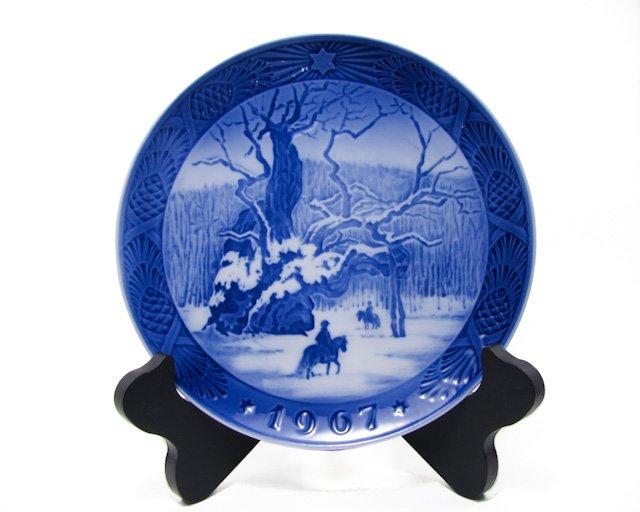 Royal Copenhagen 1967 The Royal Oak Kai Lange Denmark, Cobalt Blue, Christmas Plate