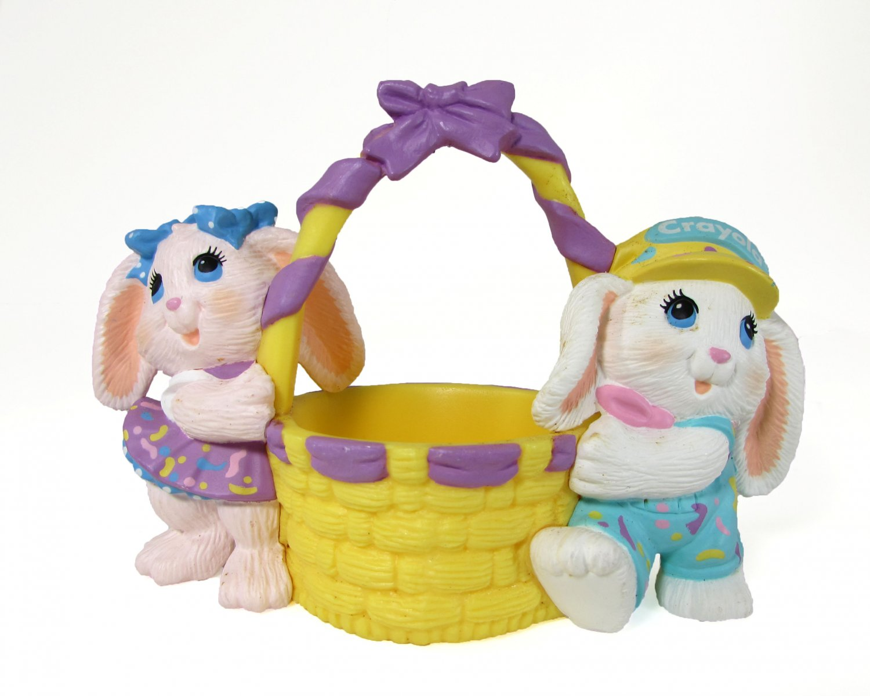 Hallmark 1991 Crayola Crayon Bunny Easter Basket Figurine Binney and Smith