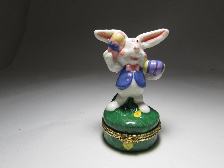 The Easter Bunny Rabbit Juggling His Eggs Ceramic Trinket Box