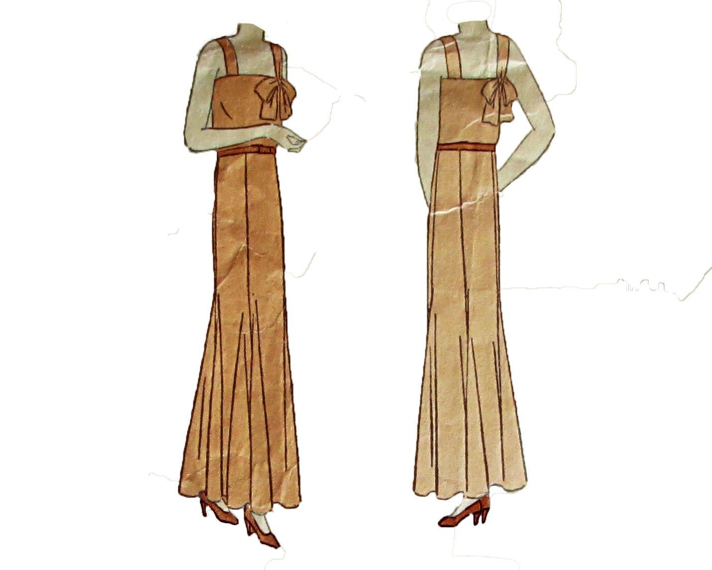 Vogue Pattern 5208 One Piece Sleeveless Evening Frock Vintage 1930 Bust 32 Hip 35