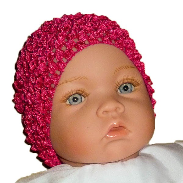 Hot Pink Beanie Waffle Crochet Baby Hat, How Darling
