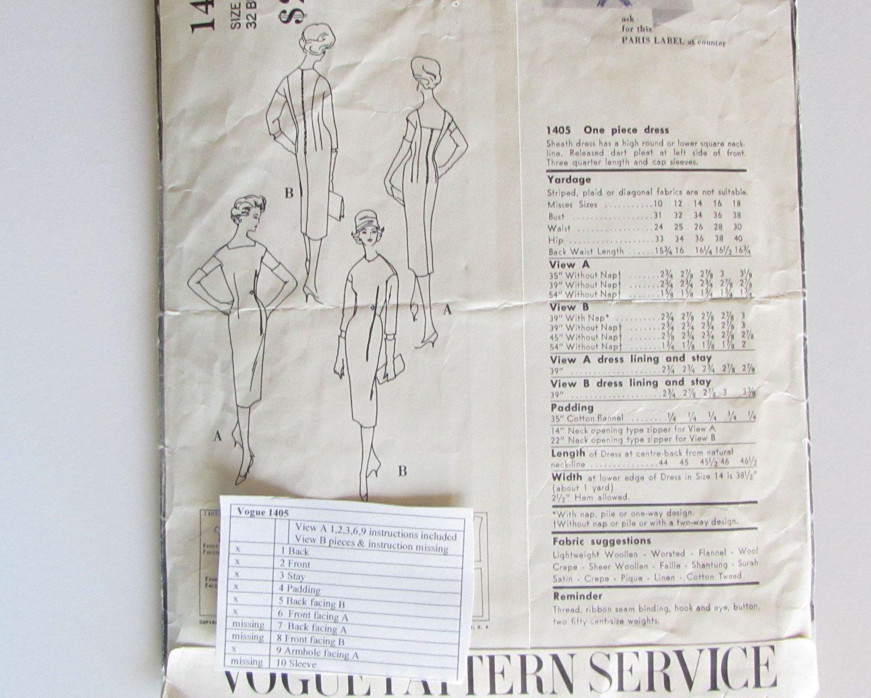 Vogue Paris Original Dress Pattern 1405 by Dessès Incomplete Vintage 1950 Size 10, Bust 31, Hip 33