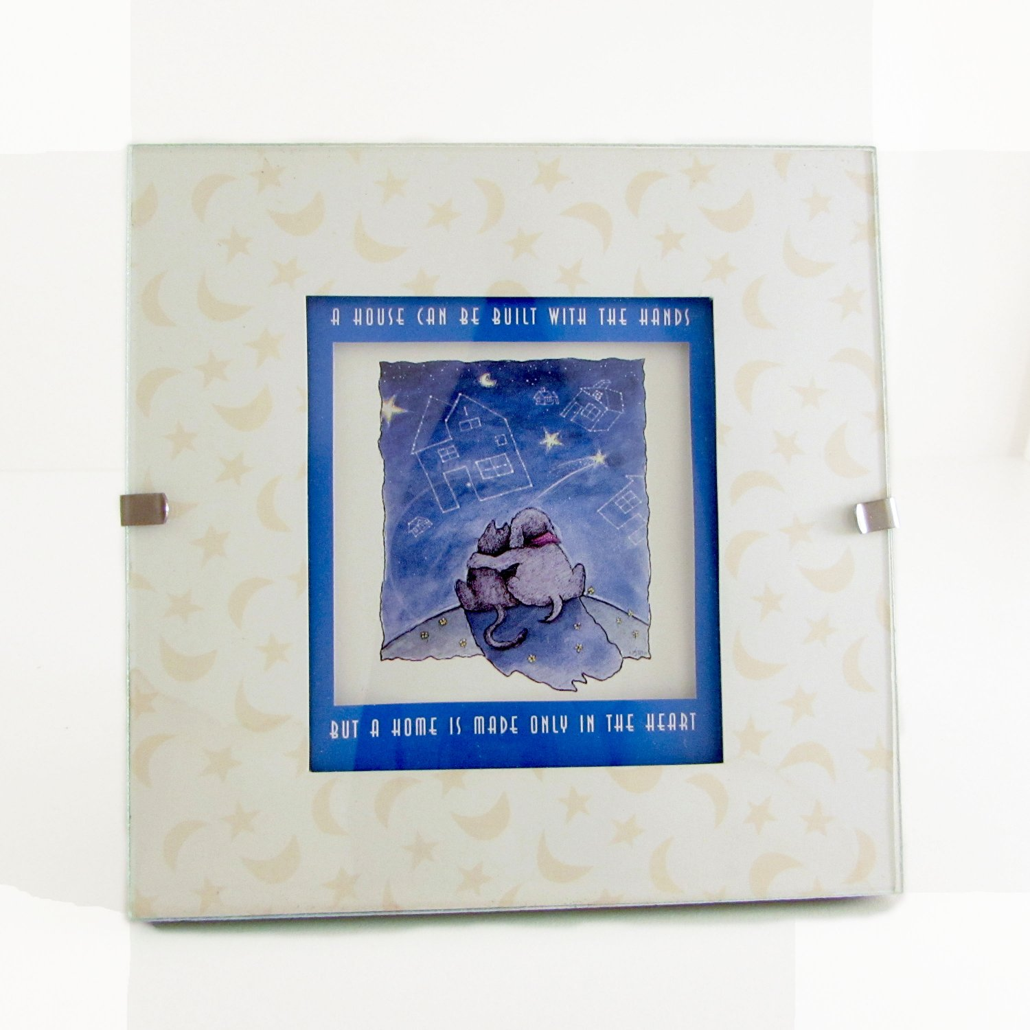 """A House Can Be Built With the Hands"" Quote in Clip Photo Frame Dog, Cat, Stars, Moon"