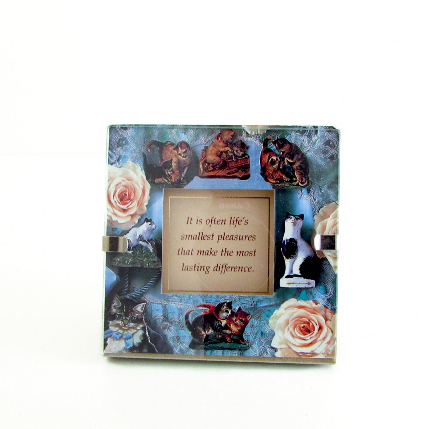 """It is often life's smallest pleasures"" Quote in Clip Photo Frame Cats, Rose Cat lover gift"