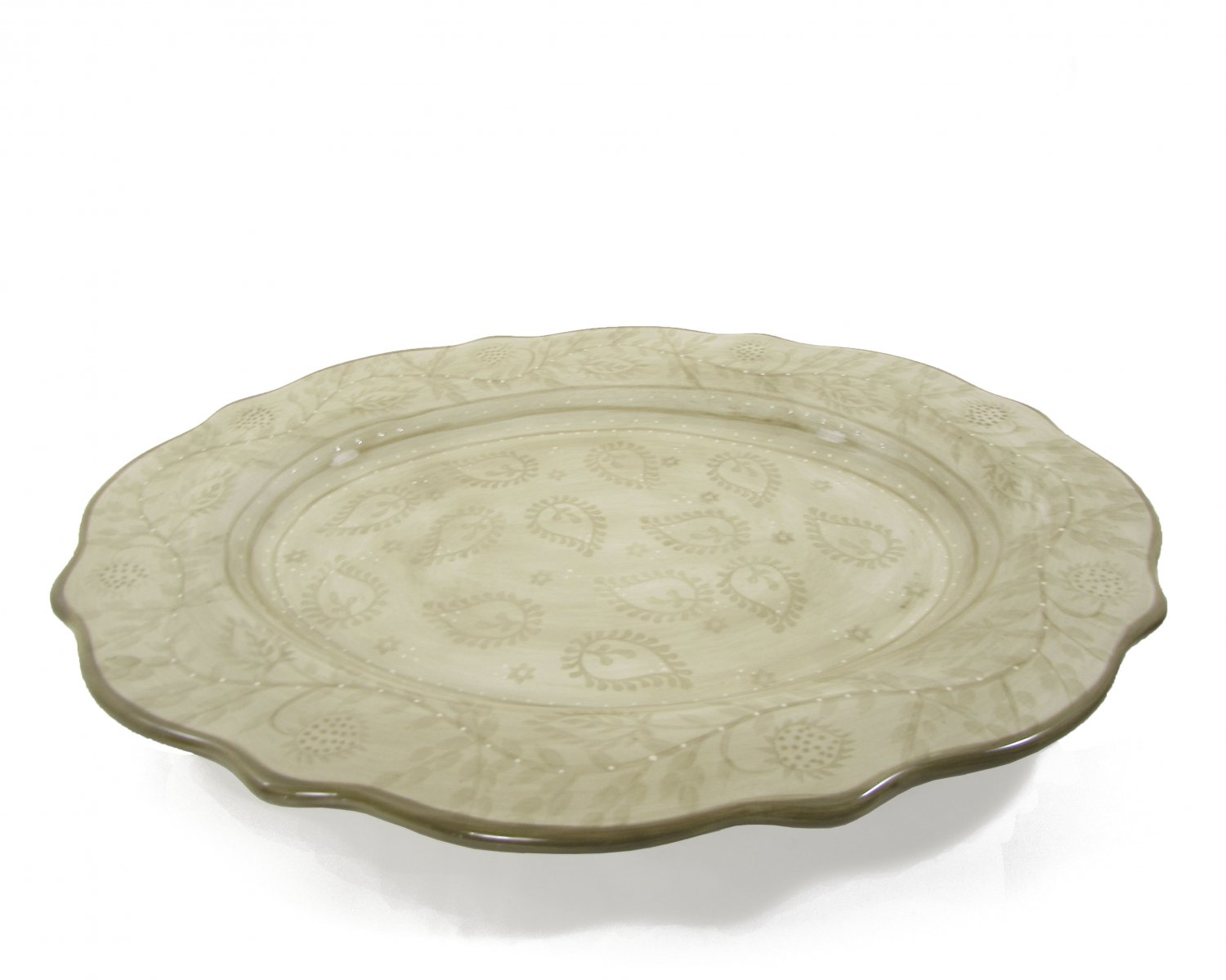 """Tabletops Unlimited Sand Jasmine Hand Painted Collection 18"""" Oval Serving Platter"""