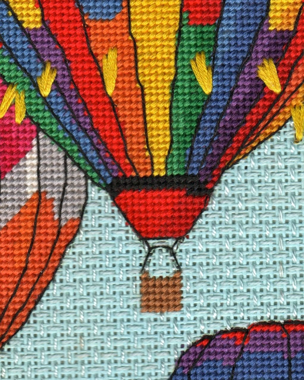Trio of Balloons in Flight Completed Needlepoint, perfect for pillow or framed.