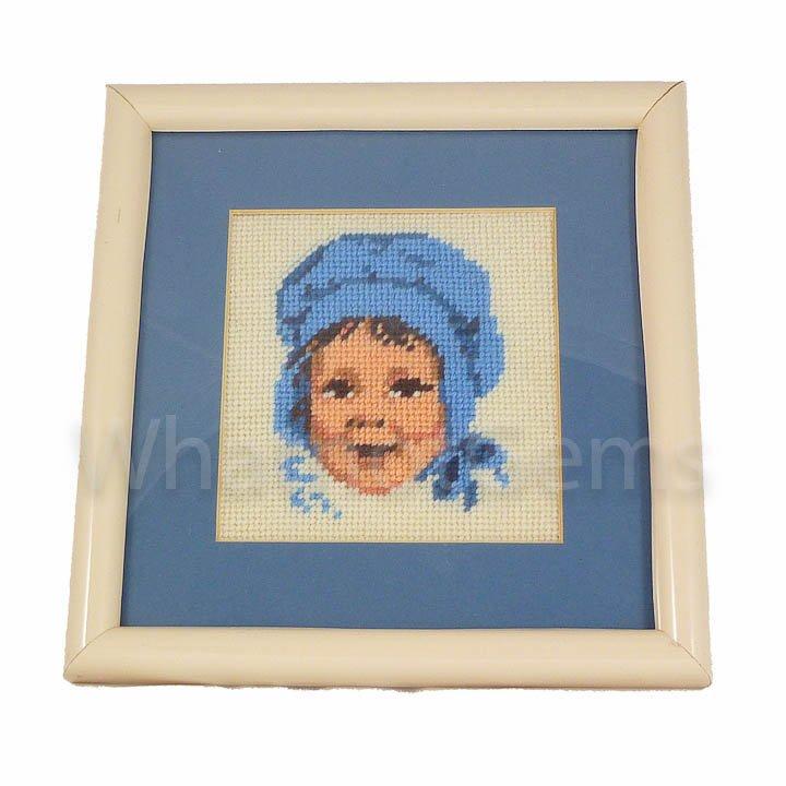"""Nursery Decor Little Girl Blue Framed Needlepoint Baby Bonnet 8"""" Square"""