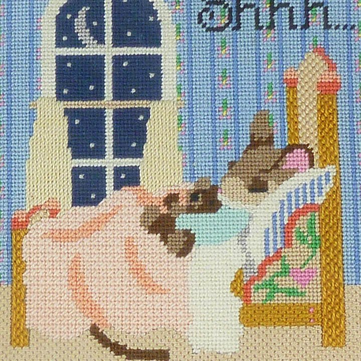 Nursery Decor, Shhh, Sleeping Mouse Framed Completed Needlepoint Baby Sleeping