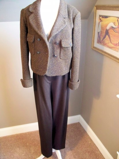 CHANEL BROWN PANT SUIT, SIZE 42