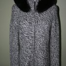 WOMANS SAKS CASHMERE HOODIE WITH BLUE FOX TRIM, SIZE M