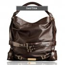 David Eikon Heather Medium Leather Hobo Bag Coffee
