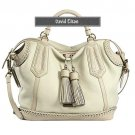 David Eikon Silvana Beige Stitch-Trimmed Leather Satchel Bag
