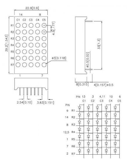"Dot Matrix LED DISPLAY 1.2"" inches 5x7 New RD GRN YLL"