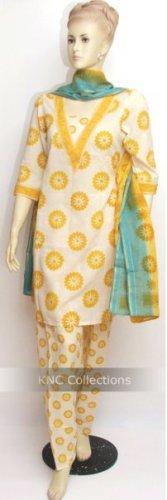 Item#CT1032 Off White & Light Yellow Cotton Salwar Kameez