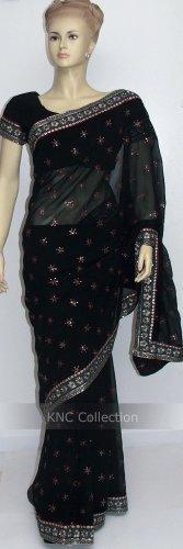 Item#SR1019 Black jorjet saree (WAS-$140, NOW-$99)