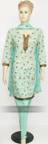 Item#CT1062 Light Teal Printed Salwar Kameez