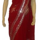 Item#SR1002 Red jorjet saree(WAS-$300, NOW-$199)