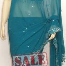 Item#SR1009 Teal Jorjet designer Saree (WAS-$190, NOW-$110)