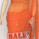Item#SR1003 Orange jorjet designer saree(WAS$225, NOW-$190)