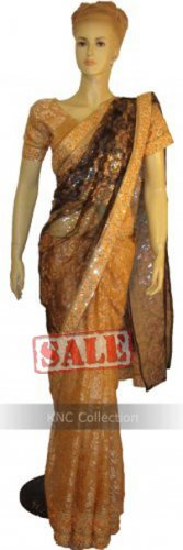 Item#SR1027 Peach color half n half saree