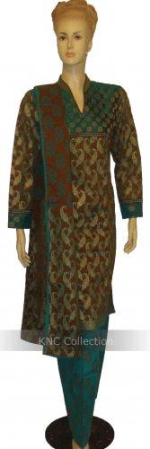 Item#CT10122 Teal/Dark Brown cotton salwar kameez