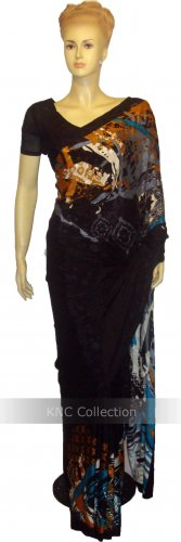 Item#SR1033 Black color soft jorjet saree