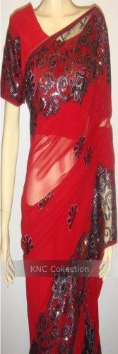 Item#SR1023 Red color jorjet saree (WAS-$120, NOW-$99)