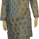 Item # CT10131 Ash and blue color cotton block salwar kameez.