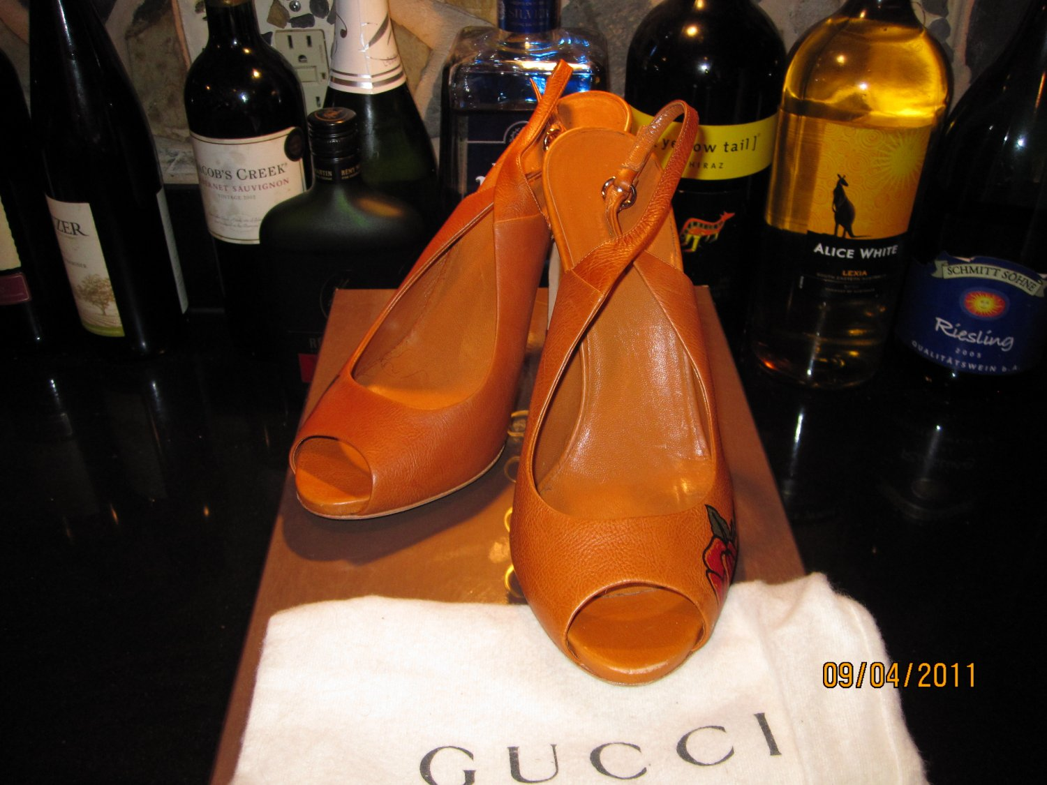 Gucci Sling Backs with Rose (limited Edition)