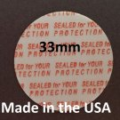 Pack of 100 Press and Seal Cap Liners - 33mm Foam Safety Tamper Seals