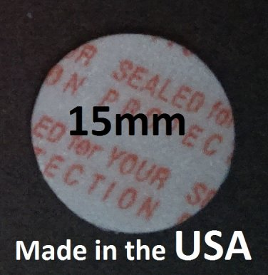 Pack of 100 Press and Seal Cap Liners - 15mm Foam Safety Tamper Seals