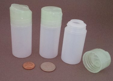 5 Small Mini Plastic HDPE Dispensing Bottles with Disk Press Cap ~ BPA-free 1.5oz 45ml travel size