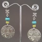 Yellow Jade Turkey Turquoise Owl Disk Dangle Earrings ER07 ~ Handmade in the USA
