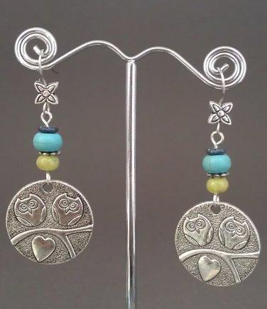 Yellow Jade Turkey Turquoise Owl Disk Dangle Earrings ER07 ~ Handmade in the USA