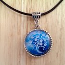 "Tree of Life with Blooms round glass pendant leather necklace 20"" N-08 ~ Handmade in the USA"