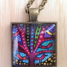 "Abstract Birds in Tree square glass pendant in bronze tray necklace 18""  N-04 ~ Handmade in the USA"