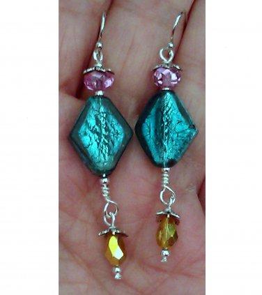 Foiled Lamp Bead & Foiled Crystal Dangle Earrings ER16 ~ Handmade in the USA