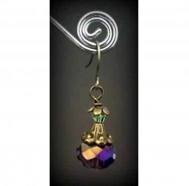 Purple Iris Crystal Dangle Earrings ER06 ~ Handmade in the USA