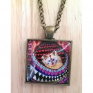 "Abstract Big-Eyed Cat square glass pendant in bronze tray necklace 18""  N-02 ~ Handmade in the USA"