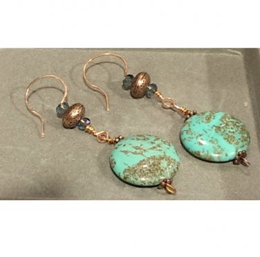 Turquoise Lentil & Copper Drop Earrings ER41 ~ Handmade in the USA
