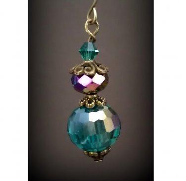 Teal Green Austrian Crystal Disco Ball Dangle Earrings  ER03B ~ Handmade in the USA