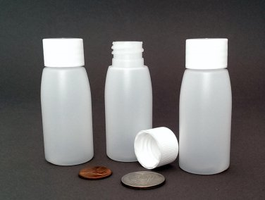 Wholesale 100 Mini Rigid Plastic Bottles - 1oz / 30ml - NOT squeezable ~ BPA-free HDPE
