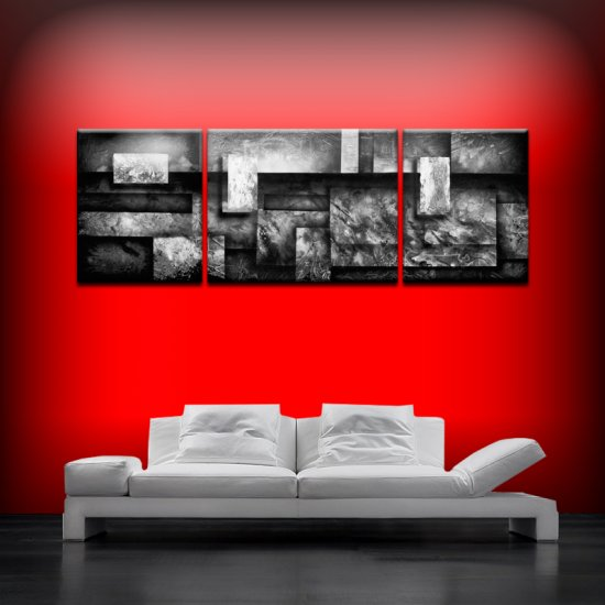 Geometric abstract black white 24x70 large 3 canvas set triptych artist Dapore