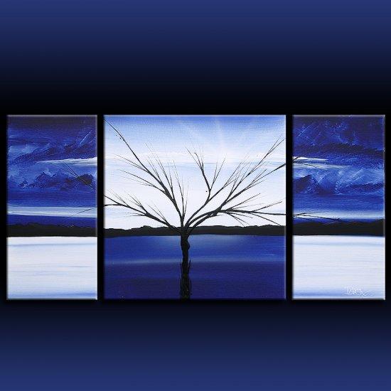 Landscape 312 blue white black canvas art modern art painting