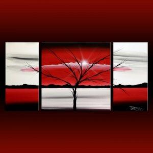 Landscape 313 red white black canvas art modern art painting for Painting on black canvas tips