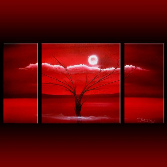 Landscape 322 abstract red large 24x48 triptych three panel set