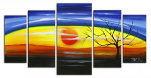 Bright colorful multiple five canvas painting