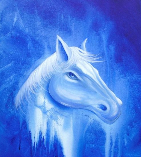Dapore, White horse on blue, original painting