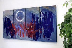 """""""Abstract painting 495"""" extra large abstract, 60x30, oversize, original,modern, by artist Dapore"""