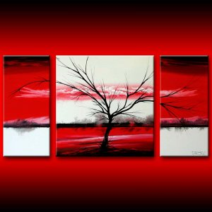 Red modern art landscape canvas painting 24x48